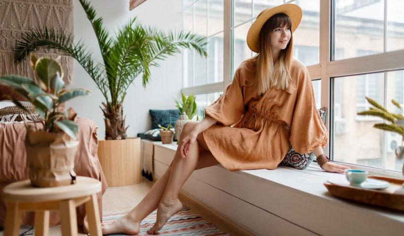 woman relaxing at home during her vacation