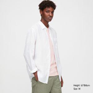 Men-Premium Linen Long Sleeve Shirt by Uniqlo